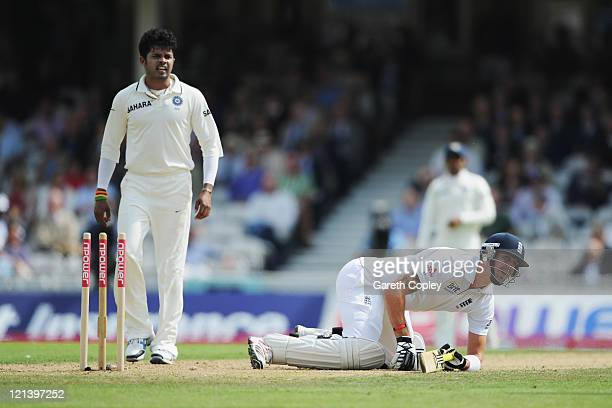 Kevin Pietersen of England falls trying to make his ground watched by Sreesanth of India during day two of the 4th npower Test Match between England...