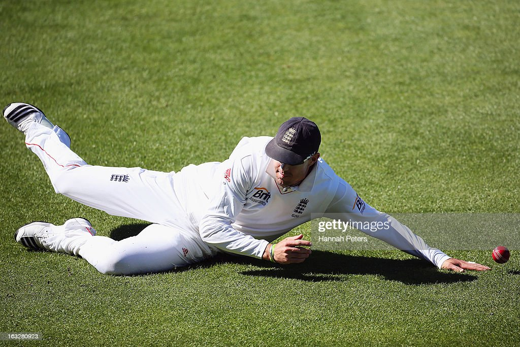 Kevin Pietersen of England fields during day two of the First Test match between New Zealand and England at University Oval on March 7, 2013 in Dunedin, New Zealand.