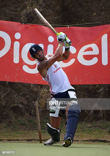 Kevin Pietersen of England hits a ball during a nets session at The Beausejour Stadium on April 2 2009 in Castries Saint Lucia