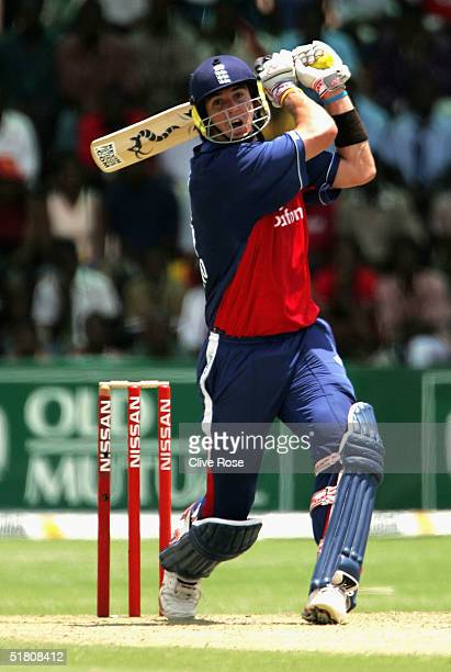 Kevin Pietersen of England hits out during the 2nd One Day International against Zimbabwe at the Harare Sports Club ground on December 1 2004 in...