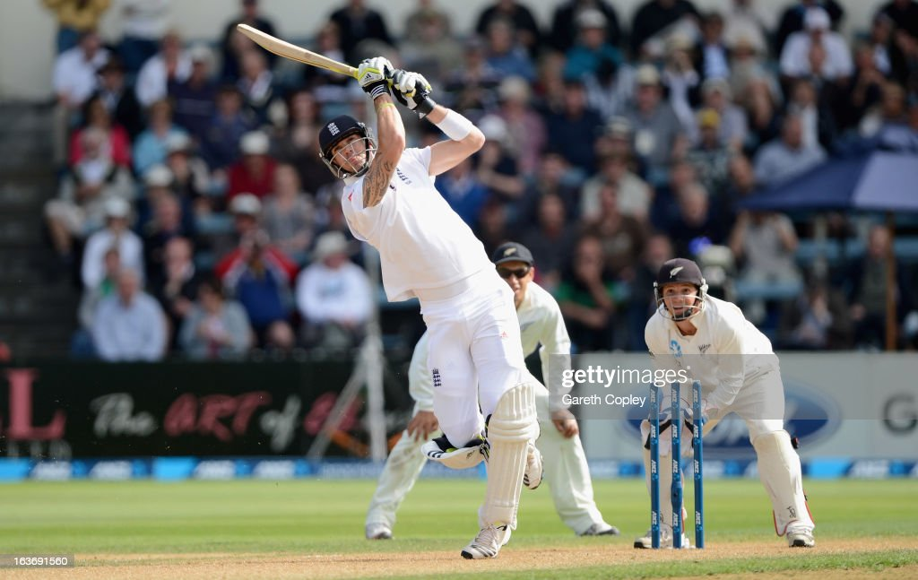 <a gi-track='captionPersonalityLinkClicked' href=/galleries/search?phrase=Kevin+Pietersen+-+Cricket+Player&family=editorial&specificpeople=202001 ng-click='$event.stopPropagation()'>Kevin Pietersen</a> of England hits out for six runs from the bowling of Bruce Martin during day two of the second Test match between New Zealand and England at Basin Reserve on March 15, 2013 in Wellington, New Zealand.