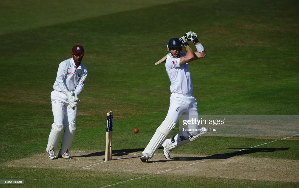 Kevin Pietersen of England hits out to the boundary during the Second Investec Test match between England and West Indies at Trent Bridge on May 26, 2012 in Nottingham, England.