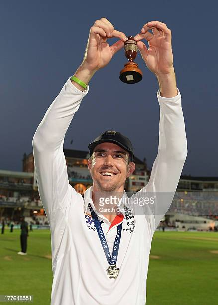 Kevin Pietersen of England holds the urn after England won the Ashes during day five of the 5th Investec Ashes Test match between England and...