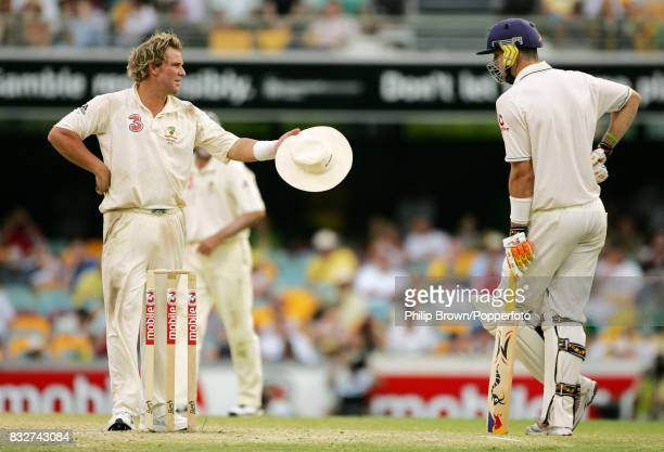 Kevin Pietersen of England ignores Hampshire teammate Shane Warne of Australia after Warne threw the ball at Pietersen during England's second...