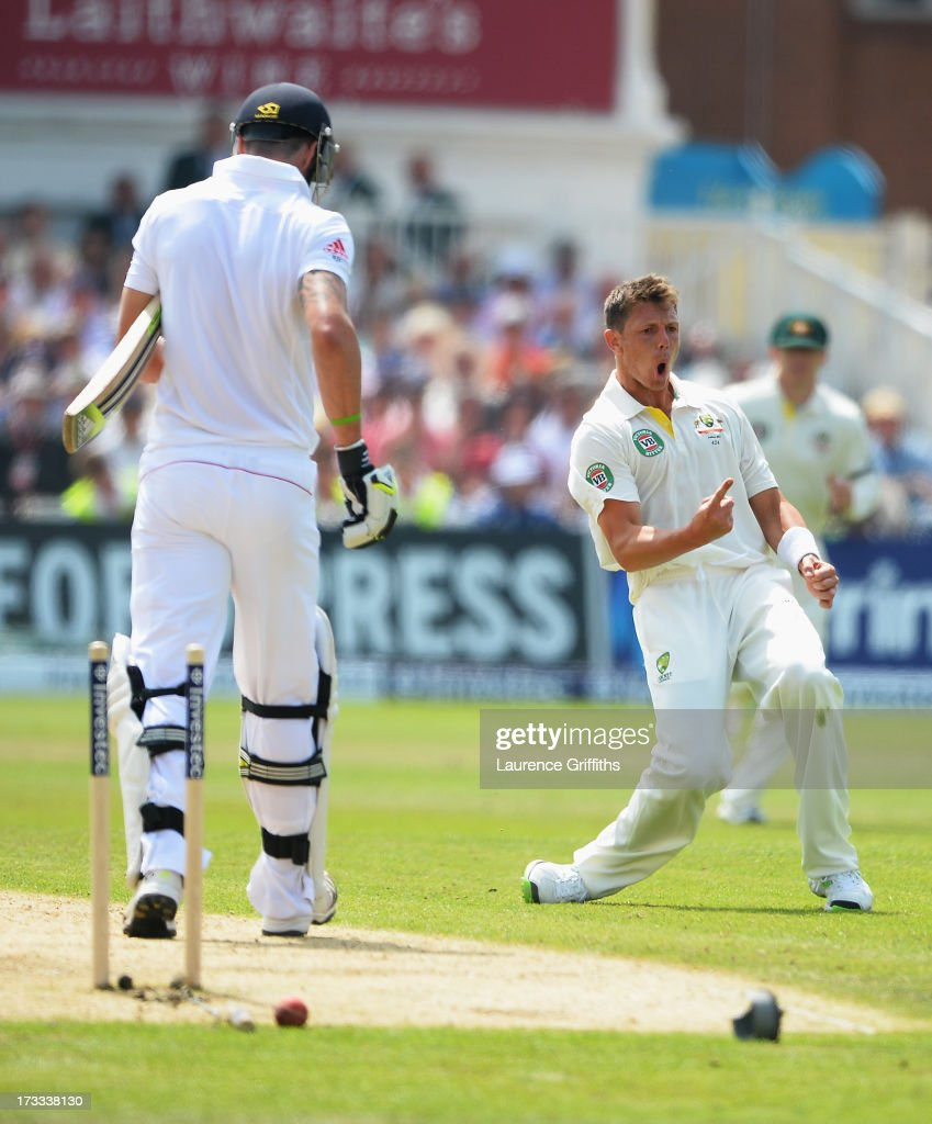 <a gi-track='captionPersonalityLinkClicked' href=/galleries/search?phrase=Kevin+Pietersen+-+Cricket+Player&family=editorial&specificpeople=202001 ng-click='$event.stopPropagation()'>Kevin Pietersen</a> of England is bowled by <a gi-track='captionPersonalityLinkClicked' href=/galleries/search?phrase=James+Pattinson&family=editorial&specificpeople=4884816 ng-click='$event.stopPropagation()'>James Pattinson</a> of Australia during day three of the 1st Investec Ashes Test match between England and Australia at Trent Bridge Cricket Ground on July 12, 2013 in Nottingham, England.