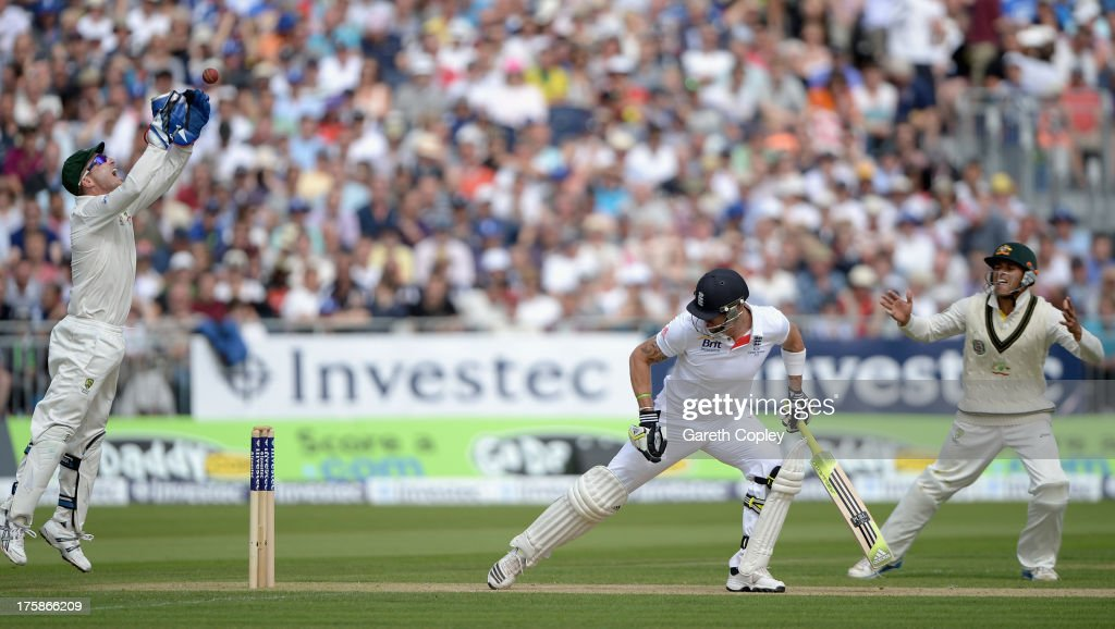 <a gi-track='captionPersonalityLinkClicked' href=/galleries/search?phrase=Kevin+Pietersen+-+Cricket+Player&family=editorial&specificpeople=202001 ng-click='$event.stopPropagation()'>Kevin Pietersen</a> of England is caught behind by Australia wicketkeeper <a gi-track='captionPersonalityLinkClicked' href=/galleries/search?phrase=Brad+Haddin&family=editorial&specificpeople=193800 ng-click='$event.stopPropagation()'>Brad Haddin</a> during day one of 4th Investec Ashes Test match between England and Australia at Emirates Durham ICG on August 09, 2013 in Chester-le-Street, England.