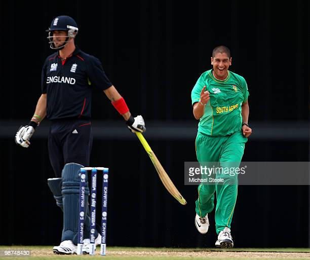 Kevin Pietersen of England is dismissed first ball caught by Mark Boucher off the bowling of Rory Kleinveldt during the ICC T20 World Cup warm up...