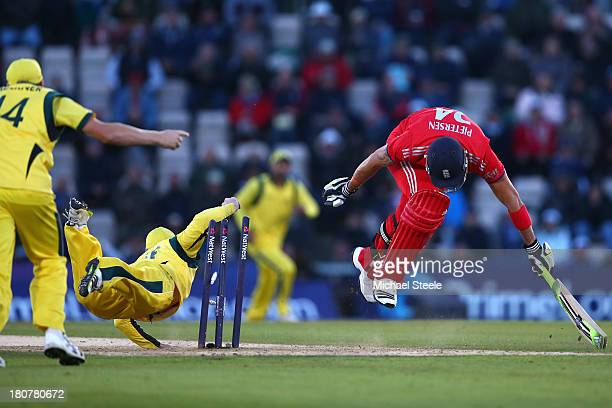 Kevin Pietersen of England is run out by Phil Hughes of England of Australia during the 5th NatWest Series ODI between England and Australia at the...