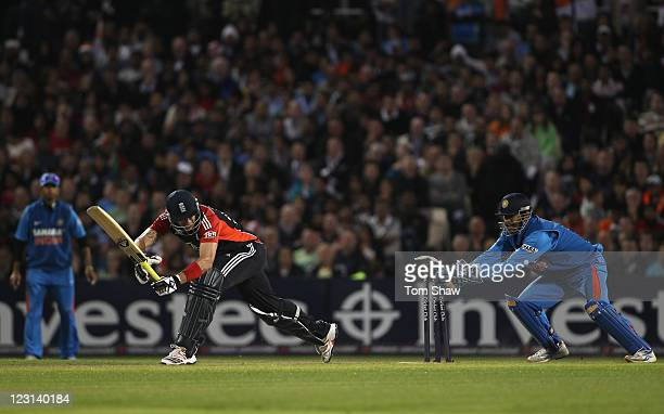 Kevin Pietersen of England is stumped by MS Dhoni of India during the NatWest International Twenty20 Match between England and India at Old Trafford...