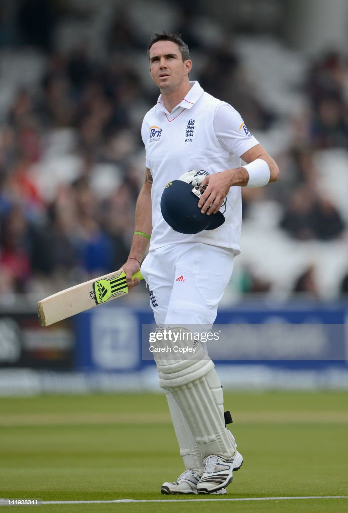 Kevin Pietersen of England leaves the field after being dismissed by Shannon Gabriel of the West Indies during day five of the first Test match between England and the West Indies at Lord's Cricket Ground on May 21, 2012 in London, England.