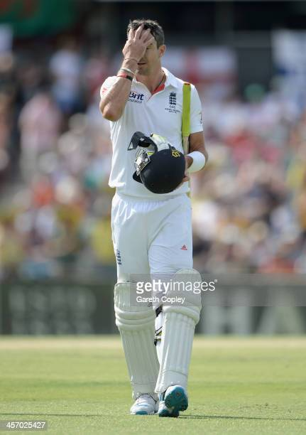 Kevin Pietersen of England leaves the field after being dismissed by Nathan Lyon of Australia during day four of the Third Ashes Test Match between...