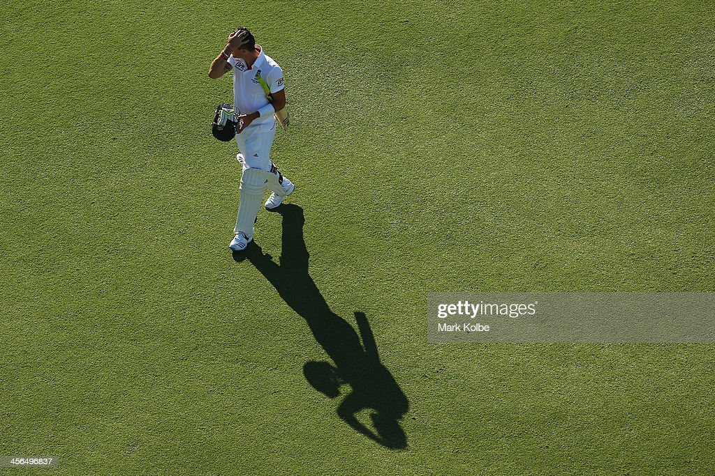 Kevin Pietersen of England leaves the field after being dismissed during day two of the Third Ashes Test Match between Australia and England at WACA on December 14, 2013 in Perth, Australia.