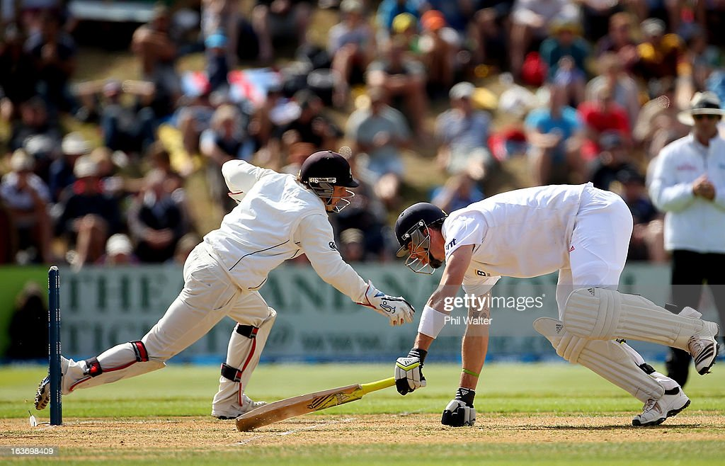 Kevin Pietersen of England makes his crease as BJ Watling of New Zealand fields the ball during day two of the second Test match between New Zealand...