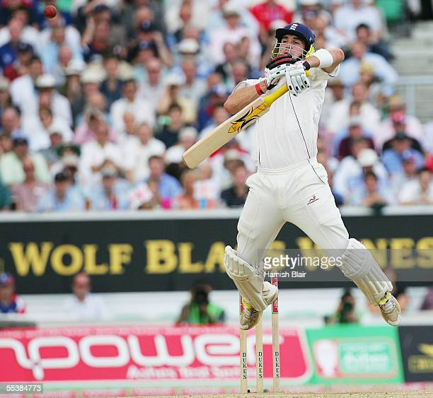 Kevin Pietersen of England rears away from a short ball from Brett Lee of Australia during day five of the Fifth npower Ashes Test between England...