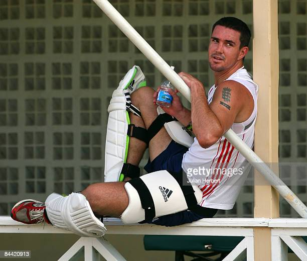 Kevin Pietersen of England relaxes during a nets session at The Warner Park Cricket Stadium during The England Cricket Team's tour of The West Indies...
