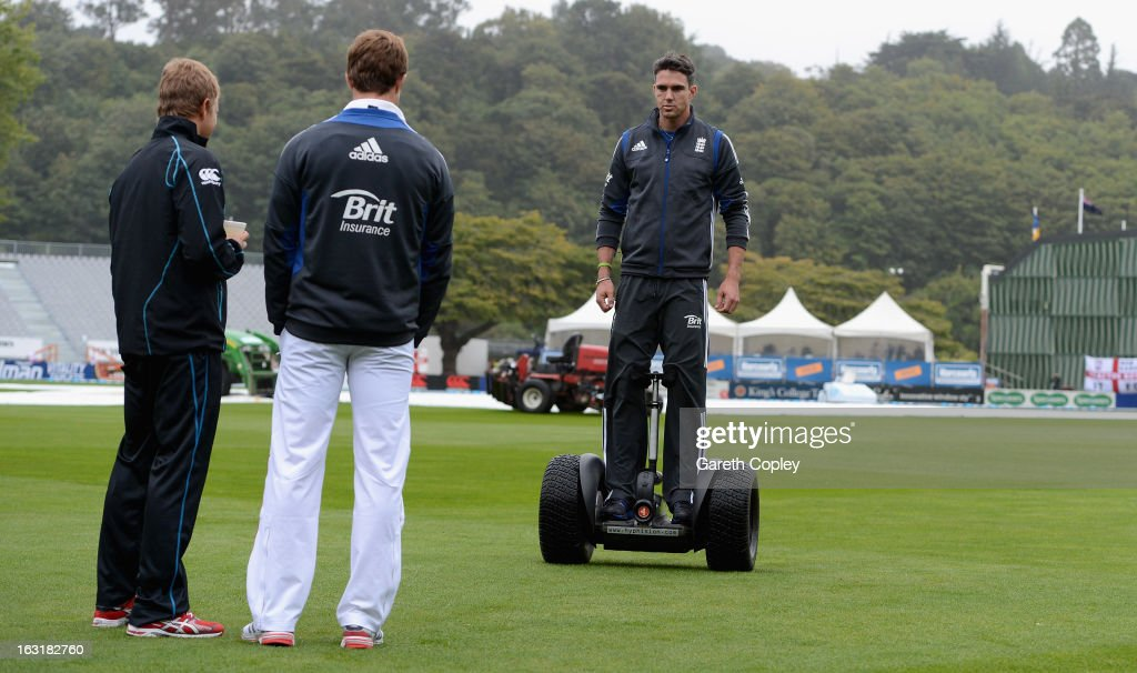 <a gi-track='captionPersonalityLinkClicked' href=/galleries/search?phrase=Kevin+Pietersen+-+Cricket+Player&family=editorial&specificpeople=202001 ng-click='$event.stopPropagation()'>Kevin Pietersen</a> of England rides a segwag as rain delays play during day one of the First Test match between New Zealand and England at University Oval on March 6, 2013 in Dunedin, New Zealand.