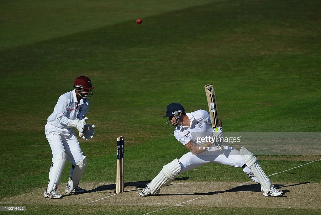 Kevin Pietersen of England scoops the ball over his own head to the boundary during the Second Investec Test match between England and West Indies at Trent Bridge on May 26, 2012 in Nottingham, England.