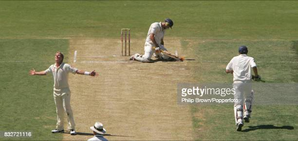Kevin Pietersen of England slumps to his knees as his shot is about to be caught ending his innings of 70 runs during the 3rd Test match between...