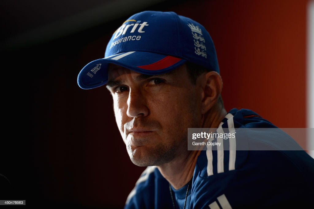 <a gi-track='captionPersonalityLinkClicked' href=/galleries/search?phrase=Kevin+Pietersen+-+Cricket+Player&family=editorial&specificpeople=202001 ng-click='$event.stopPropagation()'>Kevin Pietersen</a> of England speaks during a press conference at The Gabba on November 19, 2013 in Brisbane, Australia.