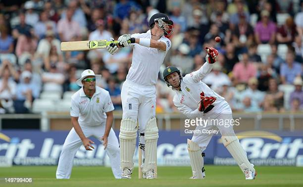 Kevin Pietersen of England swings at a ball during day three of the 2nd Investec Test match between England and South Africa at Headingley on August...