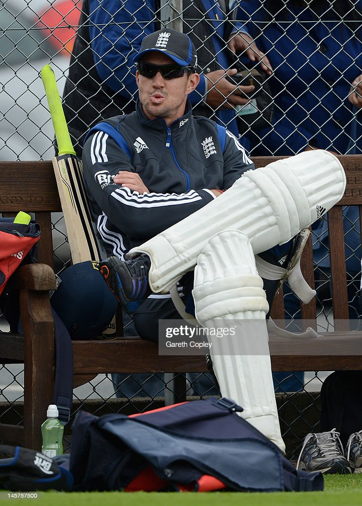 Kevin Pietersen of England waits to bat during a nets session at Edgbaston on June 5, 2012 in Birmingham, England.