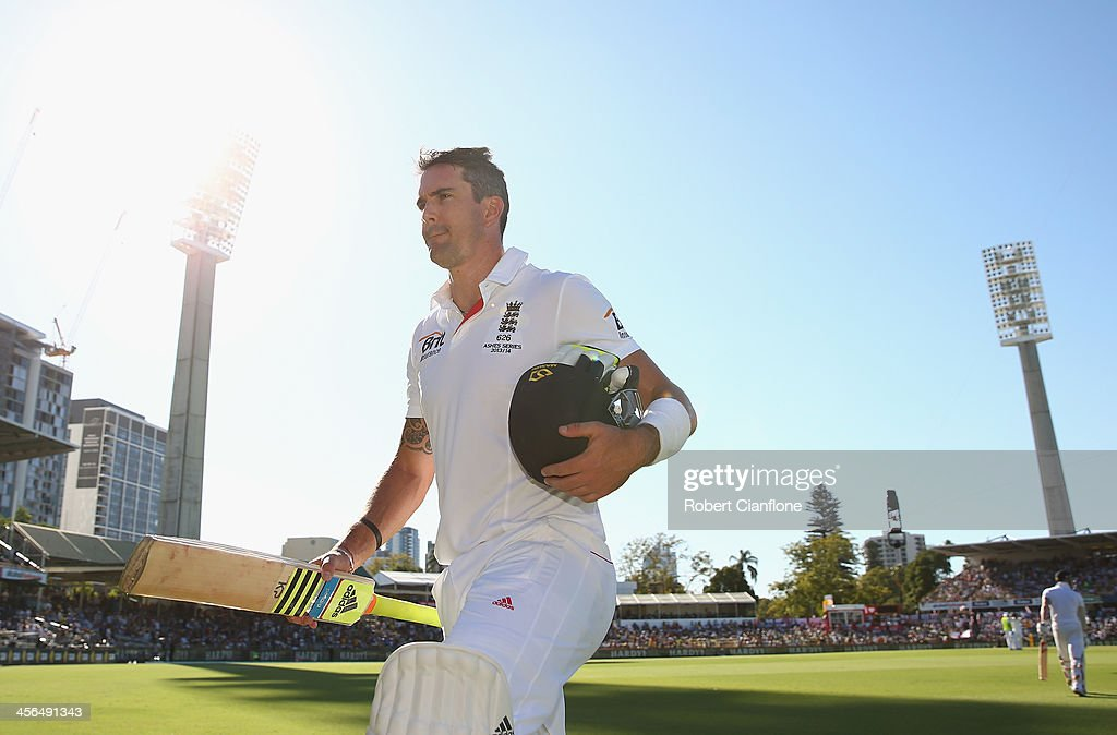 <a gi-track='captionPersonalityLinkClicked' href=/galleries/search?phrase=Kevin+Pietersen+-+Cricket+Player&family=editorial&specificpeople=202001 ng-click='$event.stopPropagation()'>Kevin Pietersen</a> of England walks from the ground after he was dismissed during day two of the Third Ashes Test Match between Australia and England at WACA on December 14, 2013 in Perth, Australia.