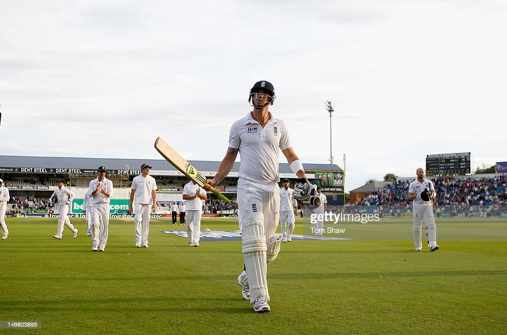 Kevin Pietersen of England walks off at the end of play after making a century during day 3 of the 2nd Investec Test Match between England and South...