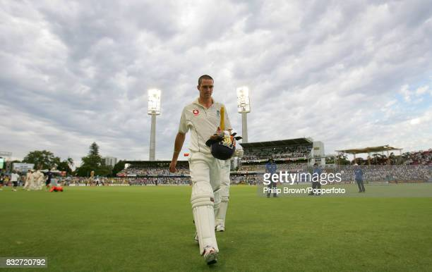 Kevin Pietersen of England walks off not out at the end of day four of the 3rd Test match between Australia and England at the WACA Perth Australia...