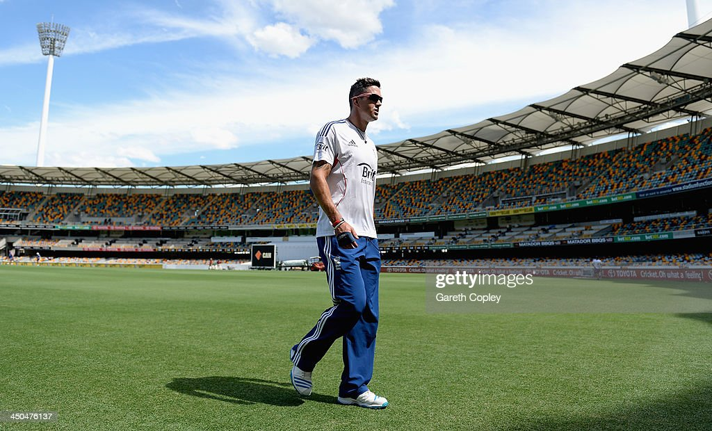 <a gi-track='captionPersonalityLinkClicked' href=/galleries/search?phrase=Kevin+Pietersen+-+Cricket+Player&family=editorial&specificpeople=202001 ng-click='$event.stopPropagation()'>Kevin Pietersen</a> of England walks to towards the nets during an England nets session at The Gabba on November 19, 2013 in Brisbane, Australia.