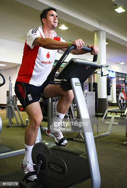 Kevin Pietersen of England warms up in the gym near the team hotel ahead of England's first tour match against South Africa Airways XI on December 7...