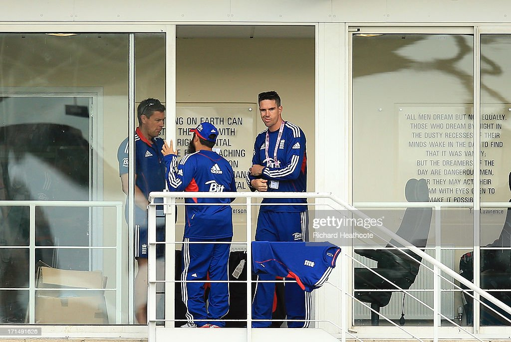 <a gi-track='captionPersonalityLinkClicked' href=/galleries/search?phrase=Kevin+Pietersen+-+Cricket+Player&family=editorial&specificpeople=202001 ng-click='$event.stopPropagation()'>Kevin Pietersen</a> of England watches on from the dressing room during the third day of the 2013 Samsung World Rowing Cup II at Eton Dorney on June 23, 2013 in Windsor, England.