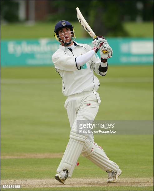 Kevin Pietersen of Hampshire hits out against Kent on his way to a big score during the County Championship Division One match between Kent and...