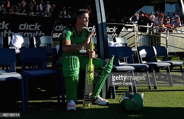 Kevin Pietersen of Melbourne Stars waits to bat in the dugout during the Big Bash League Semi Final match between the Perth Scorchers and the...