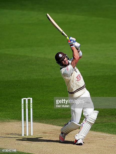 Kevin Pietersen of Surrey bats during day three of the LV County Championship match between Surrey and Leicestershire at The Kia Oval on May 12 2015...