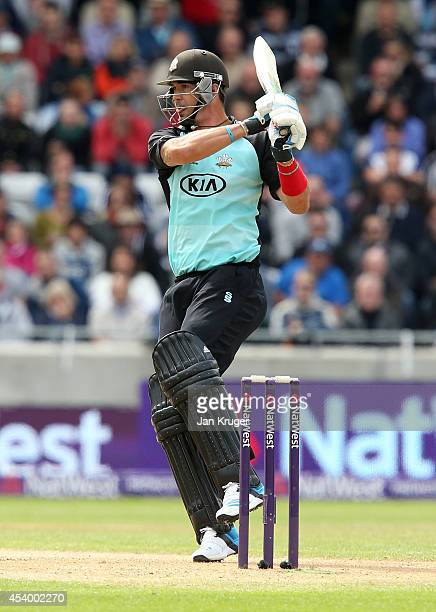 Kevin Pietersen of Surrey bats during the Natwest T20 Blast Semi Final match between Birmingham Bears and Surrey at Edgbaston on August 23 2014 in...