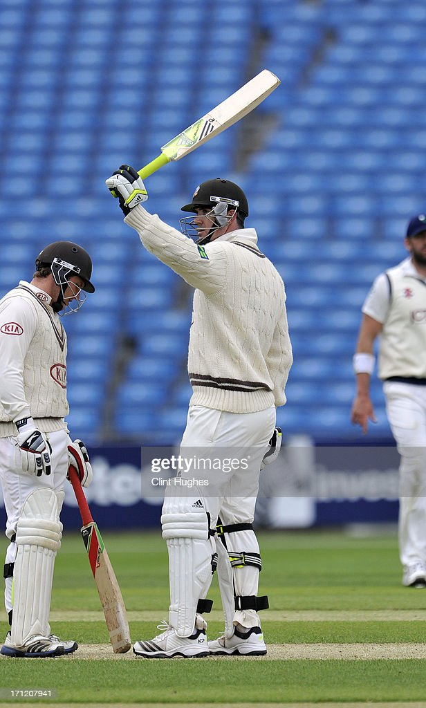 <a gi-track='captionPersonalityLinkClicked' href=/galleries/search?phrase=Kevin+Pietersen+-+Cricket+Player&family=editorial&specificpeople=202001 ng-click='$event.stopPropagation()'>Kevin Pietersen</a> of Surrey celebrates after he reaches 150 runs during day three of the LV County Championship Division One match between Yorkshire and Surrey at Headingley on June 23, 2013 in Leeds, England.