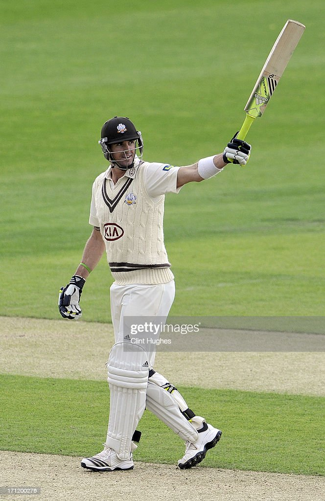 <a gi-track='captionPersonalityLinkClicked' href=/galleries/search?phrase=Kevin+Pietersen+-+Cricket+Player&family=editorial&specificpeople=202001 ng-click='$event.stopPropagation()'>Kevin Pietersen</a> of Surrey celebrates after he reaches his century during day three of the LV County Championship Division One match between Yorkshire and Surrey at Headingley on June 23, 2013 in Leeds, England.