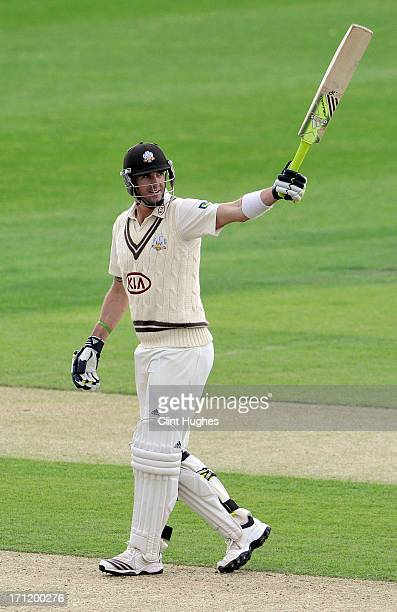 Kevin Pietersen of Surrey celebrates after he reaches his century during day three of the LV County Championship Division One match between Yorkshire...