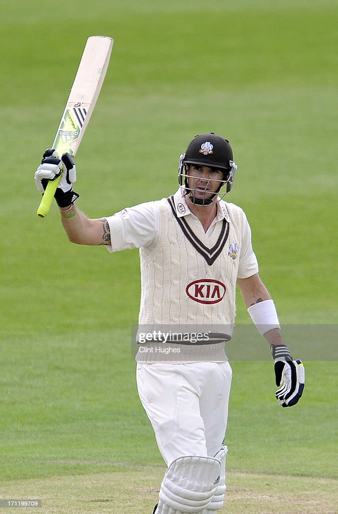 <a gi-track='captionPersonalityLinkClicked' href=/galleries/search?phrase=Kevin+Pietersen+-+Cricket+Player&family=editorial&specificpeople=202001 ng-click='$event.stopPropagation()'>Kevin Pietersen</a> of Surrey celebrates after he reaches his half century during day three of the LV County Championship Division One match between Yorkshire and Surrey at Headingley on June 23, 2013 in Leeds, England.