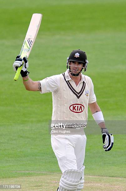 Kevin Pietersen of Surrey celebrates after he reaches his half century during day three of the LV County Championship Division One match between...