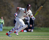 Kevin Pietersen of Surrey hits out during day one of the friendly match between Oxford MCCU and Surrey at The Parks on April 12 2015 in Oxford England