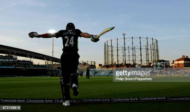 Kevin Pietersen of Surrey swings his arms as he comes out to bat during the Clydesdale Bank 40 match between Surrey and Worcestershire as the sun...