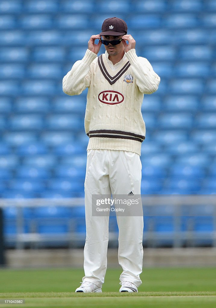 Kevin Pietersen of Surrey takes off his sunglasses during day one of the LV County Championship Division One match between Yorkshire and Surrey at...