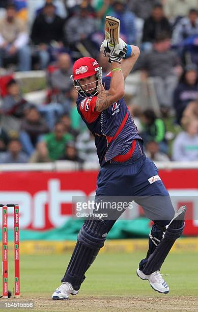 Kevin Pietersen of the Delhi Daredevils in action during the Champions league twenty20 match between Perth Scorchers and Delhi Daredevils at Sahara...