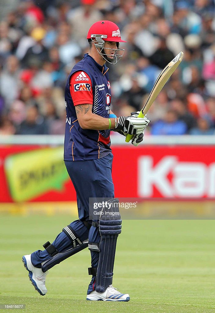 <a gi-track='captionPersonalityLinkClicked' href=/galleries/search?phrase=Kevin+Pietersen+-+Cricket+Player&family=editorial&specificpeople=202001 ng-click='$event.stopPropagation()'>Kevin Pietersen</a> of the Delhi Daredevils leaves the field after being dismissed for 9 runs during the Champions league twenty20 match between Perth Scorchers and Delhi Daredevils at Sahara Park Newlands on October 21, 2012 in Cape Town, South Africa.