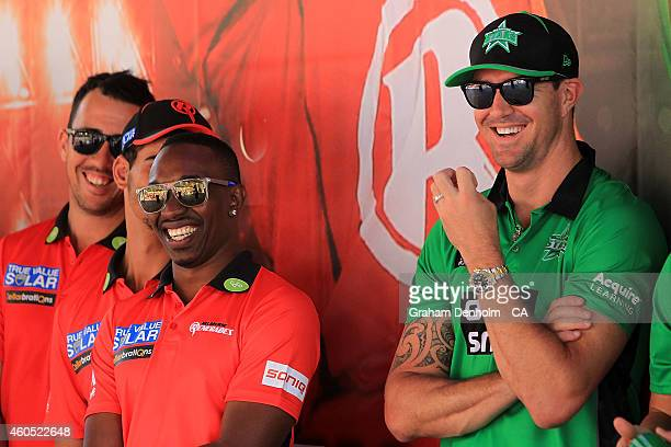 Kevin Pietersen of the Melbourne Stars and Dwayne Bravo of the Melbourne Renegades share a joke during the Melbourne Stars derby launch at Federation...