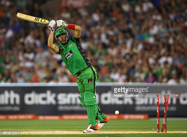 Kevin Pietersen of the Melbourne Stars is bowled out by Yasir Arafat of the Scorchers during the Big Bash League match between the Melbourne Stars...