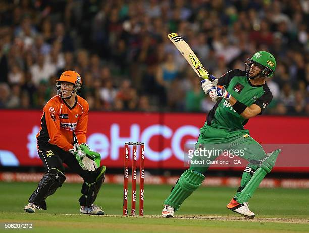 Kevin Pietersen of the Stars bats during the Big Bash League Semi Final match between the Melbourne Stars and the Perth Scorchers at the Melbourne...