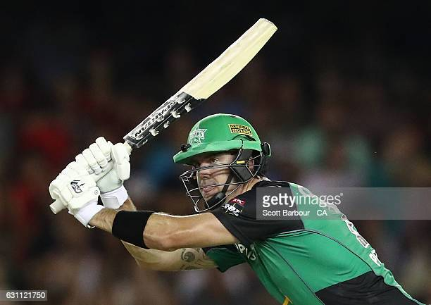 Kevin Pietersen of the Stars bats with his Rhino bat during the Big Bash League match between the Melbourne Renegades and the Melbourne Stars at...