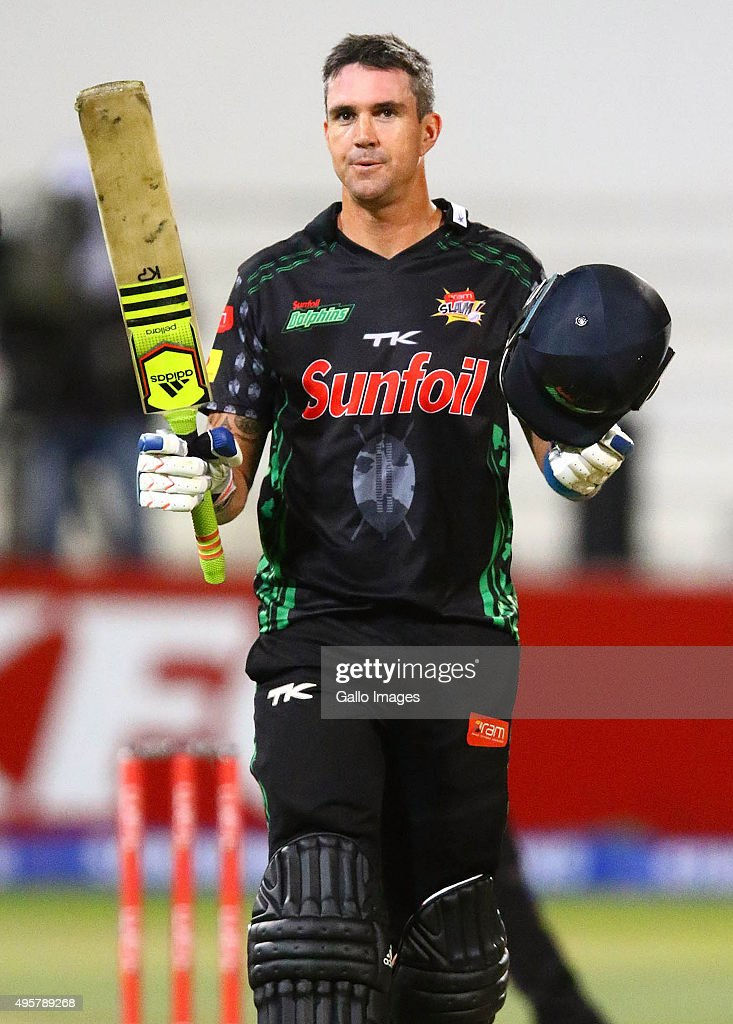 Kevin Pietersen of the Sunfoli Dolphins celebrates his century during the Ram Slam T20 Challenge match between Sunfoil Dolphins and bizhub Highveld Lions at Sahara Stadium Kingsmead on November 04, 2015 in Durban, South Africa.